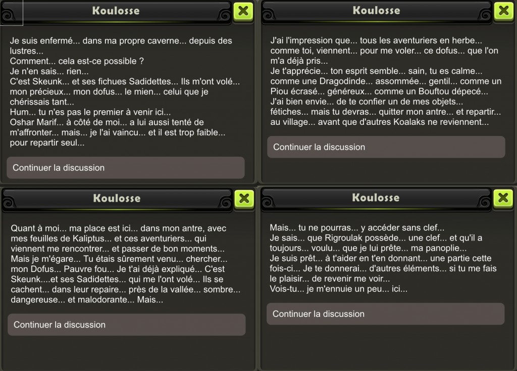 Donjon du Koulosse - Dialogue sortie